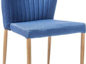 Jídelní čalouněná židle POLLY modrá/dub