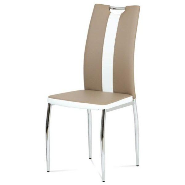 Jídelní sconto jídelní židle barbora hnědo-bílá/chrom - židle na SEDI.cz