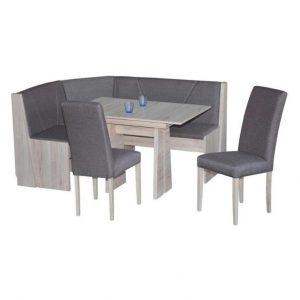 Set stůl a židle sconto rohová jídelní sestava fellbach dub sanremo/šedá - Jídelní sety a soupravy na SEDI.cz