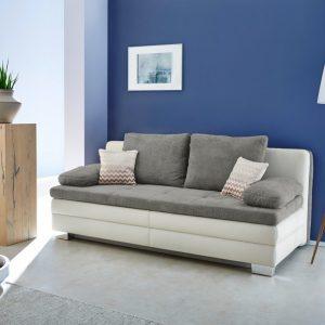 Rozkládací pohovka lincoln-se šedá/bílá s úložným prostorem