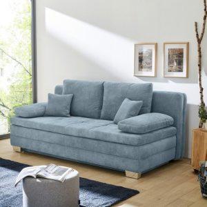 Rozkládací pohovka lindau-se světle modrá s úložným prostorem