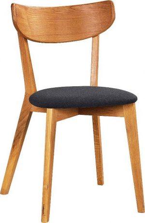 Jídelní hnědá dubová jídelní židle s tmavě šedým sedákem rowico ami - židle na SEDI.cz