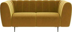 Dvoumístná medově žlutá sametová pohovka ghado shel
