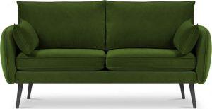 Dvoumístná zelená sametová pohovka s černými nohami kooko home lento