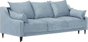 Rozkládací světle modrá sametová rozkládací pohovka s úložným prostorem mazzini sofas freesia