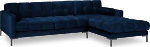 Tmavě modrá sametová rohová pohovka cosmopolitan design bali