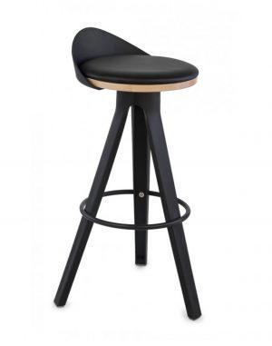 Ezidle krabi černá barová židle kůže černá - židle na SEDI.cz