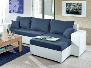 Rohová sedací souprava v kompaktních rozměrech lze univerzálně sestavit jako pravý/levý roh. snadno ji tak umístíte do jakékoliv místnosti. potažena kombinací bílé ekokůže a tmavě modré látky. - Sedací soupravy