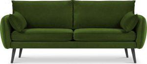 Zelená sametová pohovka s černými nohami kooko home lento