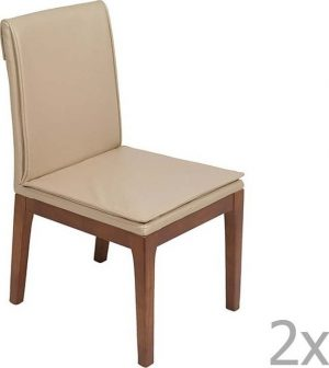 Sada 2 krémových jídelních židlí s konstrukcí z dubového dřeva santiago pons donato - židle na SEDI.cz