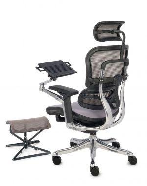 Grospol ergohuman plus elite color kancelářská židle stoleček a podnožka černá - židle na SEDI.cz