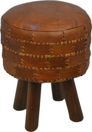Stolička z hovězí kůže hsm collection art of nature vintage cognac