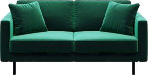 Dvoumístná zelená sametová pohovka mesonica kobo