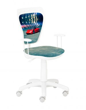 židle ministyle bílá s červeným autem - židle na SEDI.cz