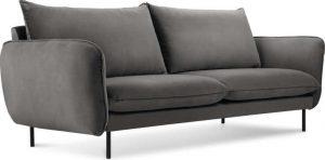 Dvoumístná tmavě šedá sametová pohovka cosmopolitan design vienna