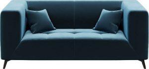 Dvoumístná modrá sametová pohovka mesonica toro