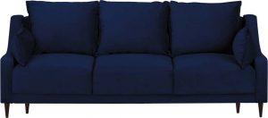 Rozkládací modrá sametová rozkládací pohovka s úložným prostorem mazzini sofas freesia