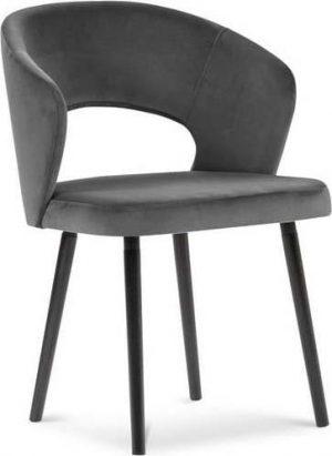 Jídelní tmavě šedá jídelní židle se sametovým potahem windsor & co sofas elpis - židle na SEDI.cz