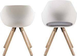 Sada 2 bílých jídelních židlí s nohami z kaučukového dřeva actona tina - židle na SEDI.cz