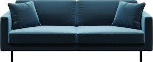 Modrá sametová pohovka mesonica kobo