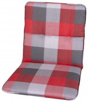 Károvaný polštář s nízkými zády v šedo-červené barvě na zahradní křeslo má rozměr cca 50x5x98 cm. - křesla na SEDI.cz