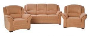 Komfortní rozkládací sedací souprava. jedná se o set rovné sedačky a dvou křesel. délka sedačky je 192 centimetry