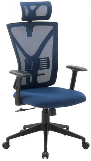Ergonomická kancelářská židle má sedák očalouněn modrou látkou a díky nastavitelným možnostem se přizpůsobí vašim potřebám - oceníte například nastavitelnost loketní opěrky