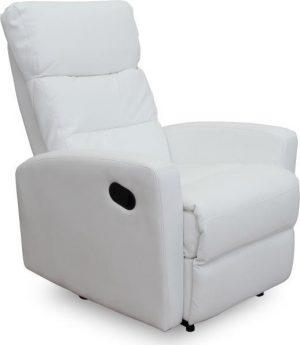 Relaxační křeslo SILAS - bílá ekokůže 3%