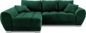 Rozkládací lahvově zelená rozkládací rohová pohovka se sametovým potahem windsor & co sofas nuage