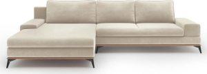 Rozkládací béžová rozkládací rohová pohovka se sametovým potahem windsor & co sofas astre